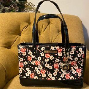 Anne Klein floral black tote bag